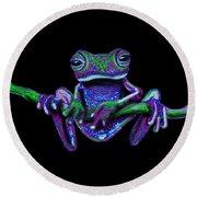 Purple Green Ghost Frog Round Beach Towel