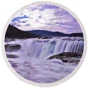 Purple Haze Waterfall Round Beach Towel