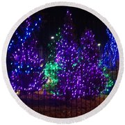 Purple Holiday Lights Round Beach Towel