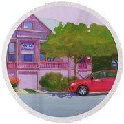 Purple House, Alameda Round Beach Towel