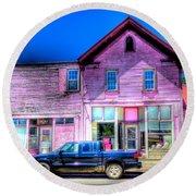 Purple House Round Beach Towel