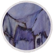 Purple Hut Round Beach Towel