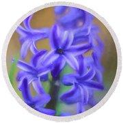 Purple Hyacinths Digital Art Round Beach Towel