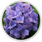Purple Hydrangea Round Beach Towel