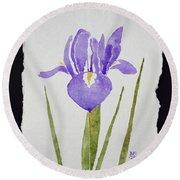 Purple Iris Round Beach Towel
