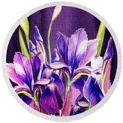 Purple Iris Dance  Round Beach Towel