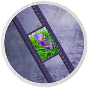 Purple Iris Passion Round Beach Towel