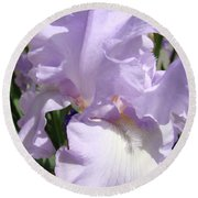 Purple Irises Artwork Lavender Iris Flowers 13 Botanical Floral Art Baslee Troutman Round Beach Towel
