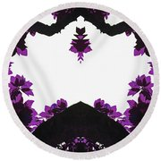 Purple Leaves Round Beach Towel