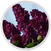 Purple Lilac 3 Round Beach Towel