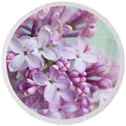 Purple Lilacs With Text Round Beach Towel