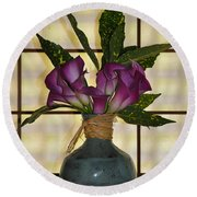 Purple Lilies In Japanese Vase Round Beach Towel