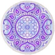 Purple Lotus Mandala Round Beach Towel