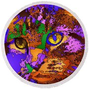 Purple Love. Pet Series Round Beach Towel