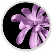 Purple Magnolia Round Beach Towel