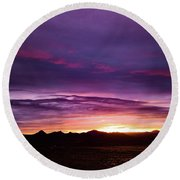 Purple Majesty Sunset Round Beach Towel