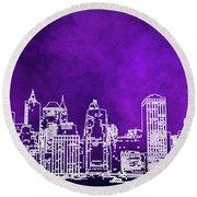Purple Manhattan Round Beach Towel