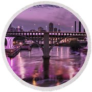 Purple Minneapolis For Prince Round Beach Towel