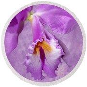 Purple Mist Orchid Round Beach Towel
