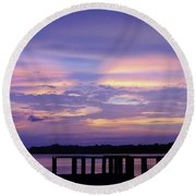 Purple Morning Round Beach Towel