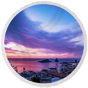 Purple Morning Round Beach Towel