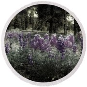 Purple On The Forest Floor Round Beach Towel