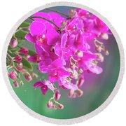 Purple Orchid Branch Round Beach Towel