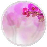 Purple Orchid Flower On Blur Background Round Beach Towel