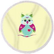 Purple Owl Round Beach Towel