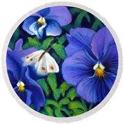 Purple Pansies And White Moth Round Beach Towel