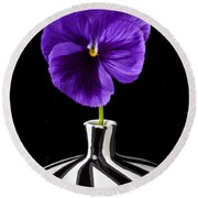 Purple Pansy Round Beach Towel