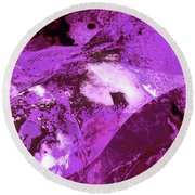 Purple Passion Abstract Round Beach Towel