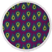 Purple Peackock Print  Round Beach Towel by Linda Woods