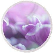 Purple Petals. Gentle Floral Macro Round Beach Towel