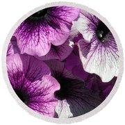 Purple Petunia Paradise Round Beach Towel