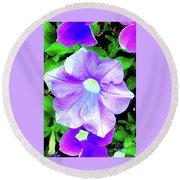 Purple Petunias 2 Round Beach Towel