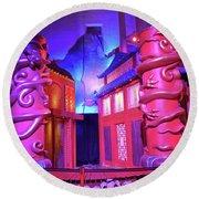 Purple Pink Fantasy Round Beach Towel