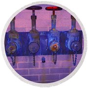 Purple Pipes Round Beach Towel