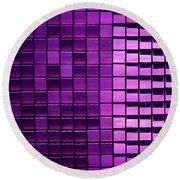 Purple Pixels Round Beach Towel