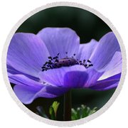Purple Poppy Mona Lisa Round Beach Towel