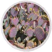 Purple Prickly Pear 3 Round Beach Towel