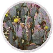 Purple Prickly Pear 1 Round Beach Towel
