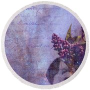 Purple Prose Round Beach Towel