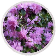 Purple Rhododendrons Round Beach Towel