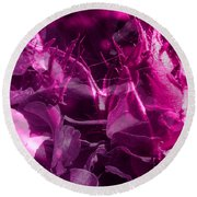 Purple Rose And Pansy Round Beach Towel