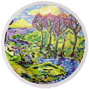 Purple Skies Seven Round Beach Towel