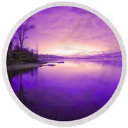 Purple Skies Round Beach Towel