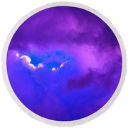 Purple Storm Round Beach Towel