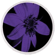 Purple Sunflower Round Beach Towel