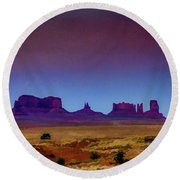 Purple Sunset In Monument Valley Round Beach Towel